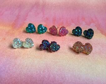 Rhinestone Heart Earrings - Stud Earrings - Earring Posts - Stainless Steel Hypoallergenic