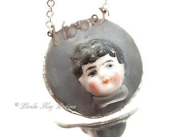 Hope Frozen Charlotte China Doll Head Necklace Silver Soldered Inspiring Charlotte Doll Pendant Lorelie Kay Original