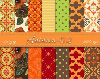 Autumn Digital Scrapbooking Paper, Fall Digital Paper, Digital Backgrounds, Autumn Digital Paper Pack