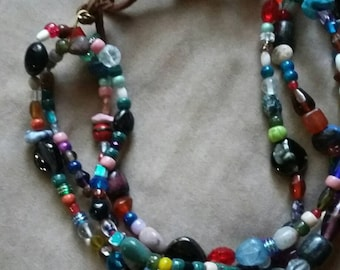 Colorful Glass Bead Bib Necklace Upcycled Recycled OOAK