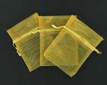 Old gold organza bags 3 inch x 4 inch 12 pieces