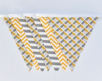 Fabric Bunting Garland Banner - Gray/Yellow/White - Double-Sided -  Modern Bedroom/Nursery/Party Décor