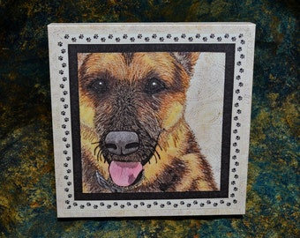 German Shepherd Dog (GSD) - Stretched Canvas Giclée Print of Thread Painted Art Quilt - original design - by NanetteSewZ