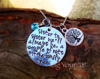 Hand stamped sister necklace - Birthday - Mother's Day - Christmas