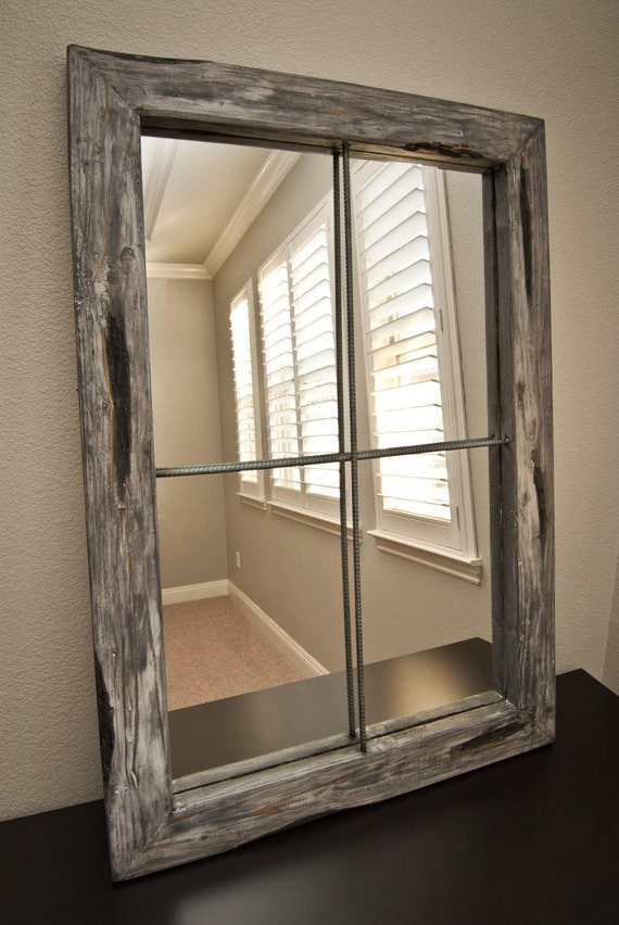 Rustic Mirror Distressed Faux Window Greywash