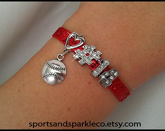 Personalized Bling Sports Rhinestone Charm Bracelet with Heart, Hanging Charm and Players Number