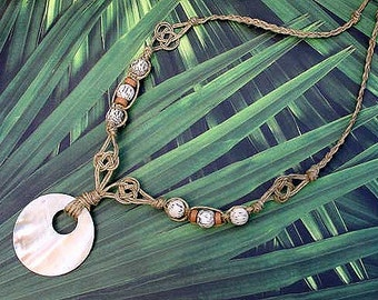 Hemp Necklace With Shell Pendant Girls Womans Beach Jewelry Palm Beads Mother of Pearl