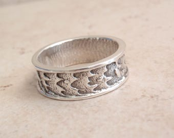 Sterling Silver Band Ring Heavy Textured Cuttlebone Cast Size 10.5 Hand Made Artisan Made