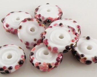 Ice Cream with Berries Discs SRA Lampwork Handmade Artisan Glass Disc Beads Made to Order Set of 8 5x20mm