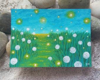 Dandelion Trail ACEO 2018 | Original Firefly Painting | Original Art | Miniature Landscape Painting | Artist Trading Card | Landscape Art