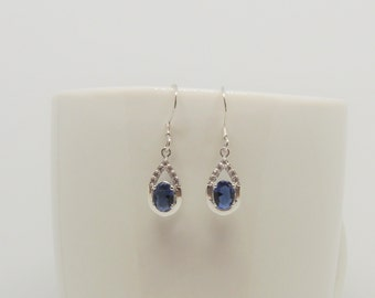Azure silver earrings, tanzanite, topaz, gemstone, dangle drop earrings, blue, 925 sterling silver, handmade