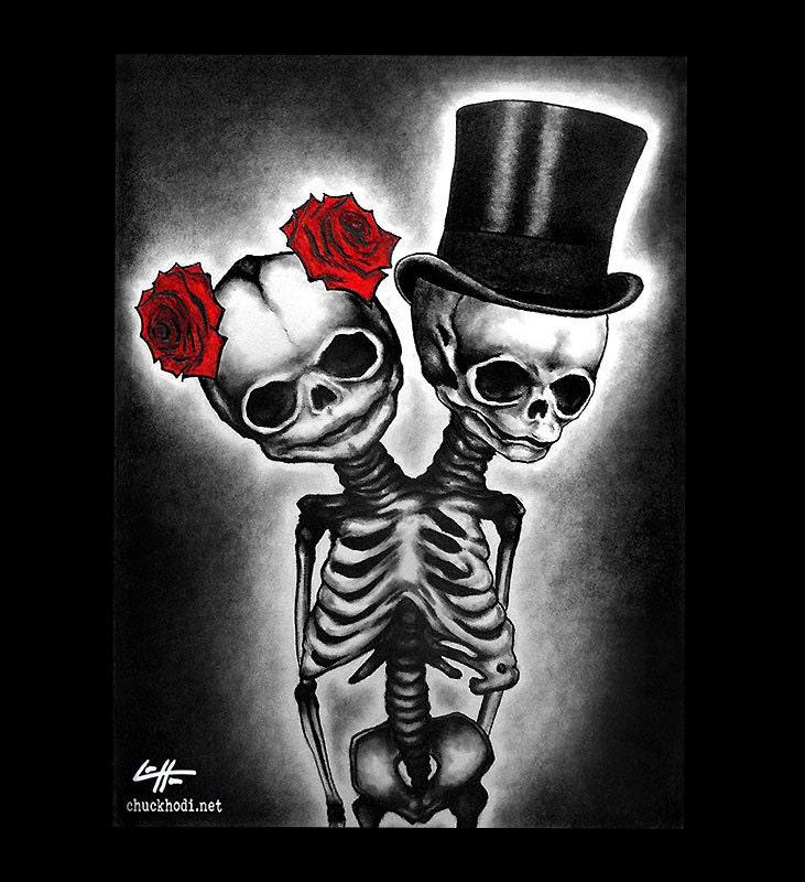 Print 11x14 Couple Skull Skeleton Roses Tophat Top