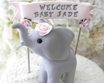 Elephant Baby Shower Cake Topper, Gray and Blush Pink,Baby Girl Shower, Custom Name Banner, New Mommy Gift, Keepsake, Nursery Decor
