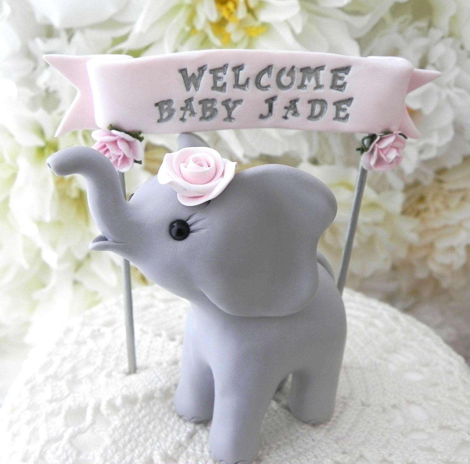 Elephant Baby Shower Cake Topper Gray and Blush PinkBaby
