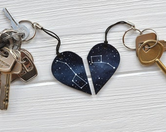 Set of keychains Big dipper Little diper Half heart keychain Girlfriend gift Anniversary Constellation Boyfriend Ursa Major Minor Mother day