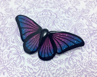 Galaxy Butterfly Barrette, Space Hair Clip, Celestial Accessory, Blue & Pink, Polymer Clay Cane, Unique Gift, Teenage Girl Gift