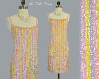 Gene Shelly Sequin Party Dress L Vintage 60s Candy Stripe Mini Dress