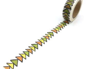 Washi Tape -  Arrows in Orange, Yellow and Lime - no.757 // 15mm x 10m