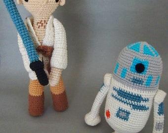 Star Wars Luke Skywalker and R2D2  Crochet Pattern/Amigurumi