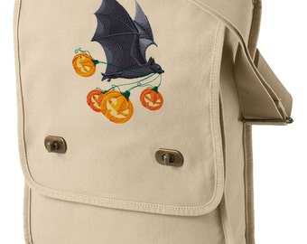 Flying Bat with Jack-o-Lanterns Embroidered Canvas Field Bag