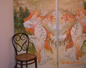a pair of large scale Art Nouveau style oil on canvas paintings 1.78X100cm.Original. Decorative panels -separating screen