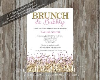"""Bridal/Wedding Shower invitations - Digital file NEW """"Glitter Shower Pink/Gold"""" design"""