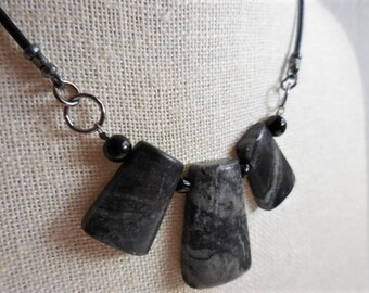 Picasso Marble with Gunmetal and Leather Necklace, Gothic Style Necklace, Black Gray Necklace, Black Marble Stones, Young and Fun gift