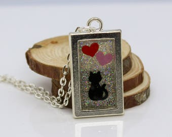 Cat Hearts & Glitter Rectangle Resin Jewelry