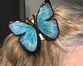 Realistic Embroidered Morpho Butterfly Hair Comb