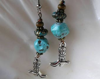 Country Western Boot Earrings