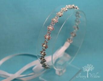 Pearl Wedding Headband - Pearl Bridal Headband - Tie back Headband - Bridal Headpiece - Prom Headband - Homecoming - Bridesmaid Headband