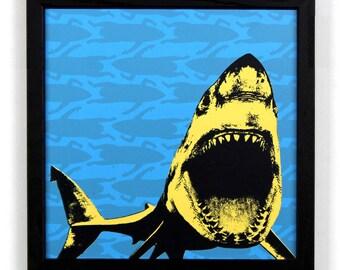 Shark with Surfers, Framed Silkscreen Print