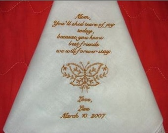 Men's Handkerchief, Monogrammed Hanky, Custom Embroidered, Grooms  Handkerchief, Custom Colors, Hand
