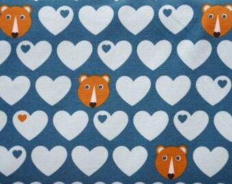 ORGANIC Jersey - little bear + hearts - blue or pink