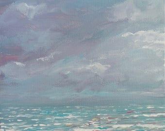 "Acrylic Painting Original Seascape // ""Misty Sea"" 6 x 6"" on Canvas by Rachampart"