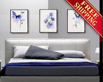 Bedroom Wall Art Painting Butterfly Wall Decor Painting, Set 3 Bedroom Wall Art Painting Butterfly Art Print Decor Wall Decor Gift