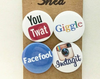 Unsociable Media ! - Social Media - Parody Spoof Pin button 4 badge set - Facebook - Youtube - Google