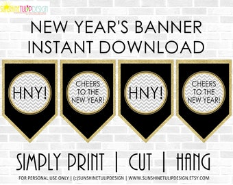 Printable NEW YEARS Party Banner, New Years Eve Party Banner, New Years Banner Black Silver and Gold glitter by SUNSHINETULIPDESIGN