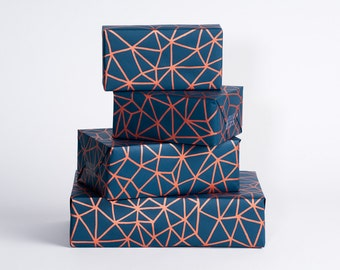 Organic Geometry / Wrapping Paper / Navy-Copper