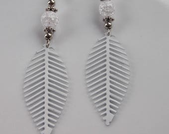 earrings, rock crystal and white feathers