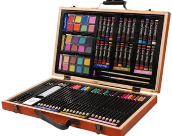 Darice 80-Piece Deluxe Art Set – Art Supplies for Drawing, Painting and More in a Compact, Portable Case