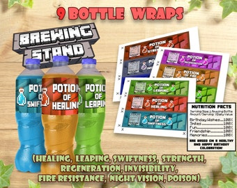Mine Themed Water Bottle Label, Birthday Party Printable Wrappers Decoration Food Tent Wrap Labels Buffet Favors Printables Instant Download