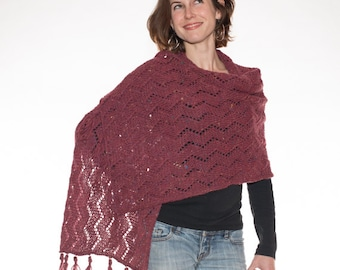Alpaca Cashmere Wrap, Alpaca Cashmere scarf, Prayer Shawl, Zig Zag Design, Red Tweed, Hand Knit - 021