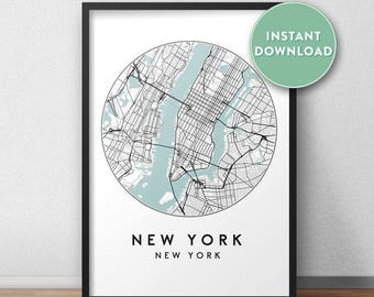 New York City Print Instant Download, Street Map Art, New York Map Print, City Map Wall Art, New York Map, Travel Poster, NY, USA,
