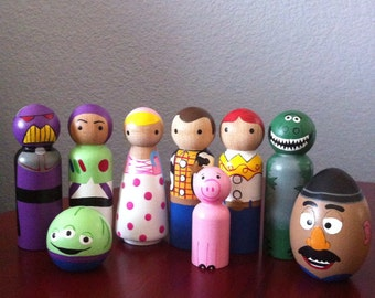 Toy Story PegBuddies peg people set of 9- Buzz, Woody, Zurg, Jessie, Birthday Cake Topper, Wood Peg People