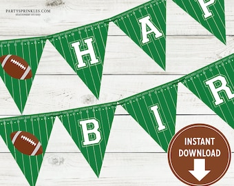 Printable Football Happy Birthday Banner - Sports Party, Football Party Decor - Instant Download!