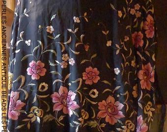 ANTIQUE shawl embroidered silk