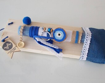 Easter gift for boy etsy blue evil eye candle greek lambada easter gift for godchild greek easter candle negle Choice Image