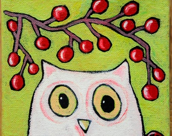Folk Art Bird Painting - Still Life Painting - Acrylic Painting - Owl Painting - Bird Art - Bird Lovers - Folk Art Painting