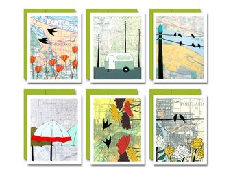 Portland Card Set / Map Art Blank Notecard Set of 6 Makes a Great Portland Gift